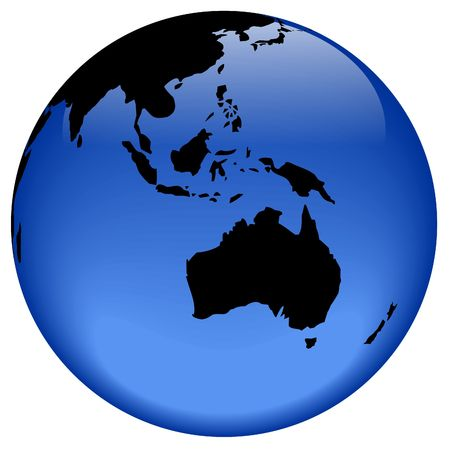 oceania: Rasterized pseudo 3d vector globe view - Australia and Oceania
