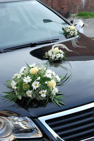 newly married: Wedding car decorated with flowers Stock Photo