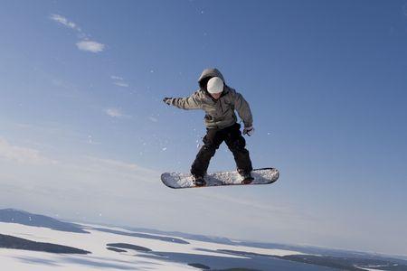 weightlessness: Flight of boarder Stock Photo