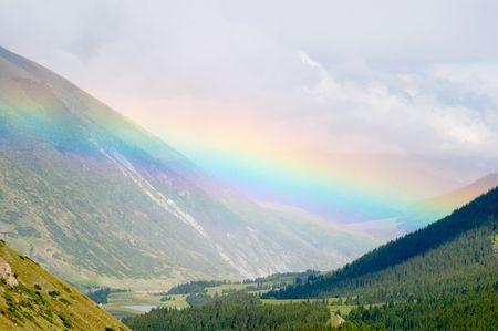 kyrgyzstan: Rainbow over Chon-Aksu valley, Kyrgyzstan