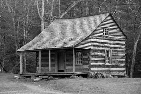 tennessee: Log Cabin (desaturated) Stock Photo