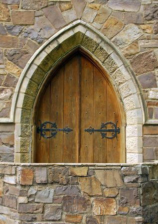 Arched Wooden Castle Door photo