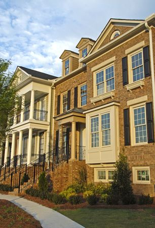 townhouses: New Townhouses for Sale Stock Photo