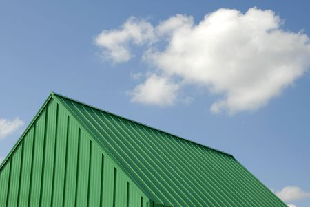 metal structure: Green Metal Roof Stock Photo