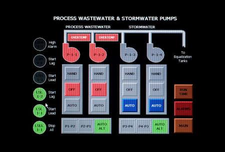 Los desechos industriales y aguas pluviales del sistema de control de  Foto de archivo - 2059304