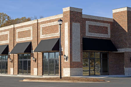 property development: New Commercial Building with Retail and Office Space for Lease  Stock Photo