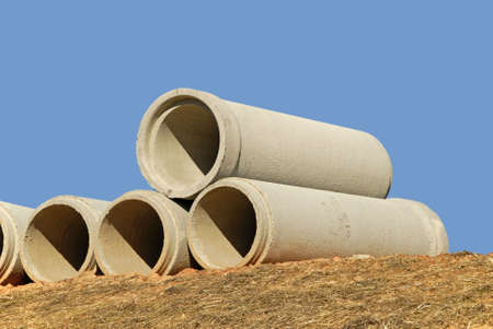 cement pile: Stack of Concrete Drainage Pipe