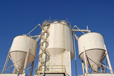 aggregates: Industrial Cement Processing Plant                                            Stock Photo