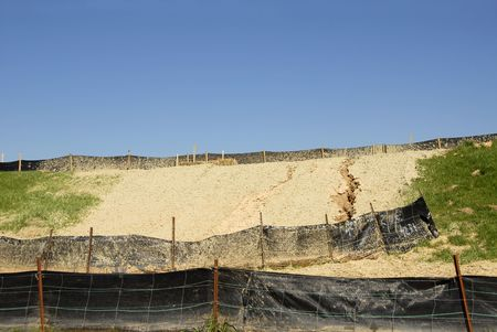 obstruction: Erosion Control on a Construction Site Stock Photo