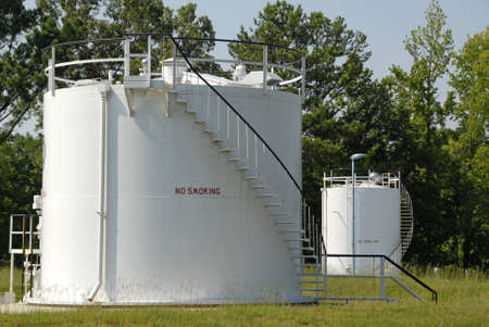 storage: Industrial Bulk Storage Tanks for Petroleum Products Stock Photo
