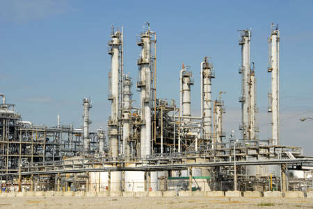 oil refinery: Oil Refinery Plant Stock Photo