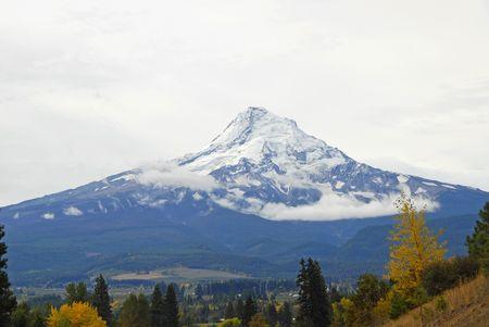 valley below: Mount Hood towering over the Valley Below