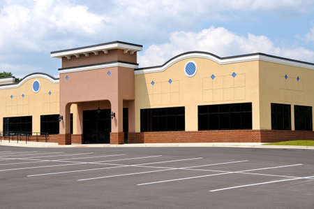 commercial architecture: Store Front in a New Shopping Center Stock Photo