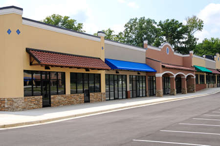 awning: Store Fronts in a New Shopping Center