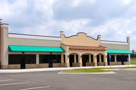 restaurant exterior: Store Front in a New Shopping Center Stock Photo
