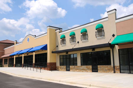 commercial architecture: Store Fronts in a New Shopping Center
