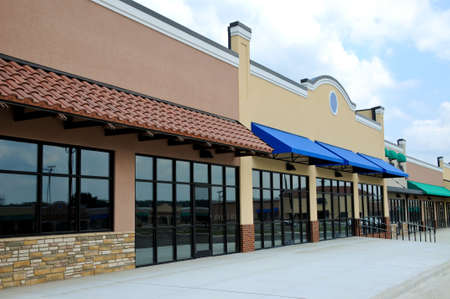 restaurant exterior: Store Fronts in a New Shopping Center