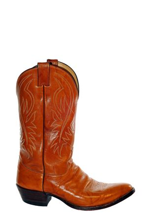 western culture: Leather Cowboy Boot isolated on White