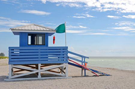 Empty Lifeguard Station on the Beach photo