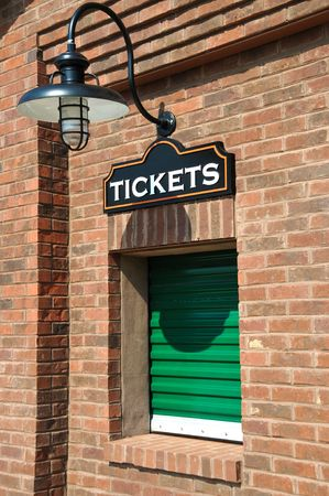 ticket office: New Box Office with Closed Ticket Window  Stock Photo