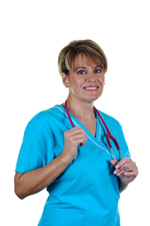 Attractive Female Nurse in Uniform with Stethoscope Stock Photo - 8885493