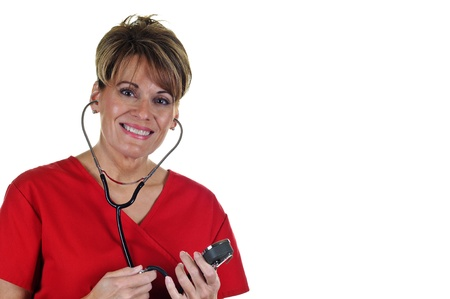 Attractive Female Nurse in Uniform with Stethoscope Stock Photo - 8885496