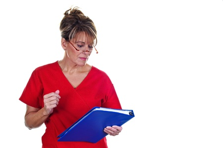Attractive Female Nurse in Uniform with a Notebook Stock Photo - 8885498