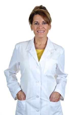 bata de laboratorio: Una mujer atractiva con una bata de laboratorio