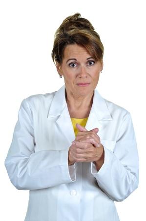 bata de laboratorio: Mujer Llevaba Bata de Laboratorio con una mirada seria Foto de archivo