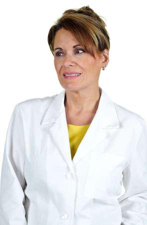 bata blanca: Mujer atractiva con una bata de laboratorio