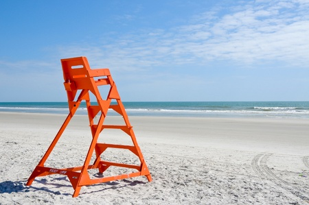 Empty Life Guard Stand on the Beach photo