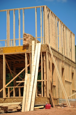 site: A New House under Construction  Stock Photo