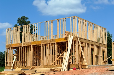 house under construction: A New House under Construction  Stock Photo