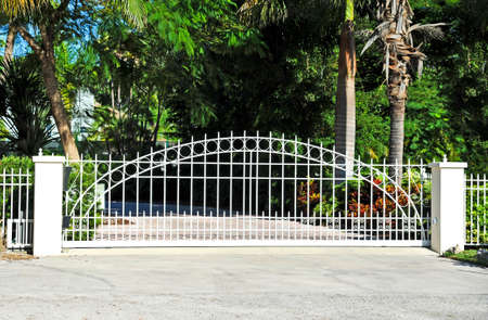 residential homes: Sliding Residential Security Gate System  Stock Photo