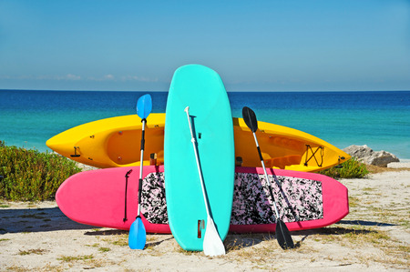 rentals: Paddle Boarding and Kayak Rentals on the Beach   Stock Photo