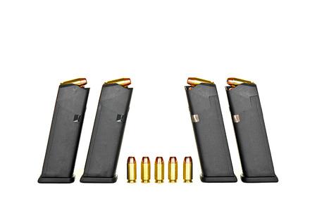 reloading: A Loaded High Capacity Handgun Magazine Stock Photo