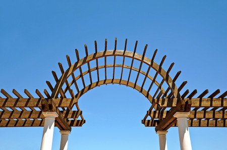 timber frame: Timber Frame Pergola with Center Arch
