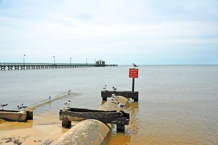 culvert: Drainage Culvert to Control Beach Erosion Stock Photo