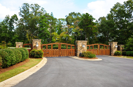 closed community: Stately Entrance to New Gated Community