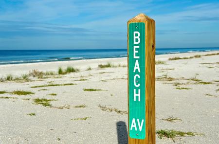beach access: Beach Avenue Sign Post on the Beach marking Public Beach Access Street Stock Photo