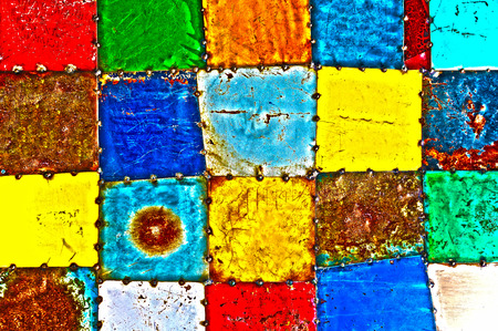 high definition: High Definition Abstract Background of Multicolored Painted Metal Squares Welded Together