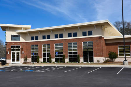 building structures: New Commercial Building with Office Space available for sale or lease Stock Photo