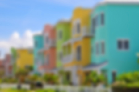 beach front: Blur Image of Colorful Beach Condominiums for Sale or Lease