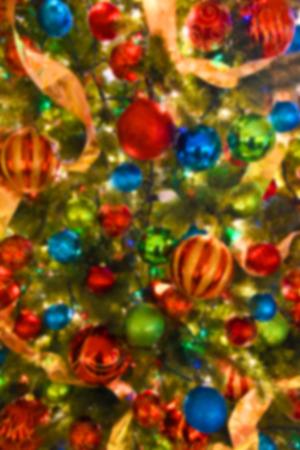 christmas bulbs: Image of a blurred closeup of a Beautiful Christmas Tree
