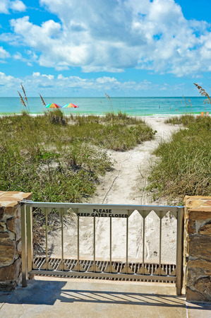 waterfront: Gate at pathway to Beach Access Stock Photo