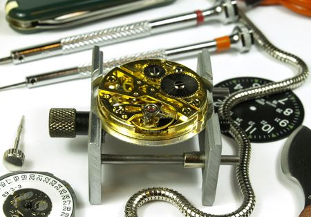 open clock machine and several horology tools Stock Photo - 438820