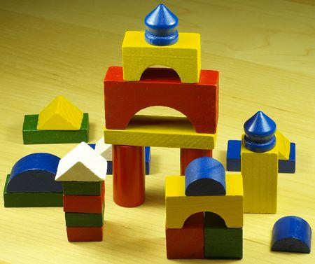 pièces en bois coloré jeu de construction