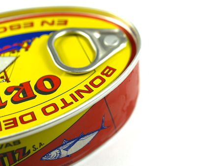 conserved: tuna can detail on a white background Stock Photo