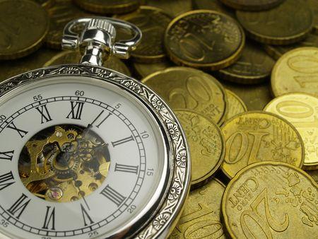 part millésime de garde et de pièces en euros temps c'est de l'argent  Banque d'images