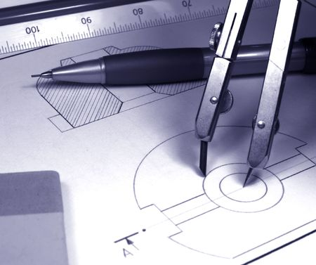 bluelines: tech draw monochrome  Stock Photo